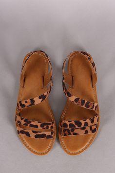 Bamboo Leopard Strappy Asymmetrical Flat Sandal