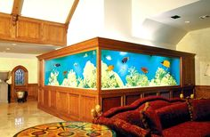 Don't create your own aquarium; let Living Art Design, Inc build one for you. We have been designing aquariums, ponds, and water features over 40 years. Cool Fish Tanks, Saltwater Fish Tanks, Saltwater Aquarium, Awesome Tanks, Home Aquarium, Reef Aquarium, Aquarium Fish Tank, Aquarium Ideas, Tanked Aquariums
