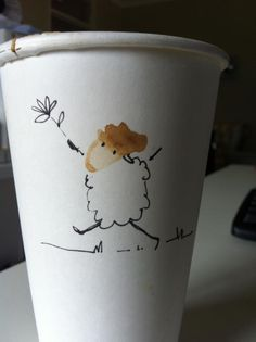 Coffee doodle on a takeaway cup cute coffee cups, coffee cup art, coffee cup Best Coffee Cup, Take Away Coffee Cup, Cute Coffee Cups, Take Away Cup, Coffee Cup Art, Coffee Cup Design, Paper Cup Design, Coffee Doodle, Bee Embroidery