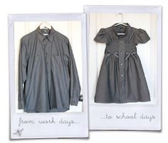 Mens Dress Shirt to Little Girls Dress: One Free Sewing pattern...Daily