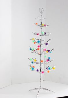 CHRISTMAS TREE Bare Branch White Metal Holiday Tree Free Standing Small Tabletop Alternative Christmas Decor Winter Rainbow Felt Ornaments