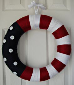 red, white, and blue yarn wreath Patriotic Wreath, 4th Of July Wreath, Diy Wreath, Wreath Crafts, Wreath Ideas, Front Door Decor, Memorial Day Wreaths, July 4th, Memories