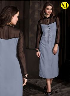 Black And Gray Georgette Designer Kurti Kurtis Tops, Stylish Kurtis, Desi Clothes, Neck Pattern, Indian Wear, Ladies Fashion, Womens Fashion, Black And Grey, Cold Shoulder Dress