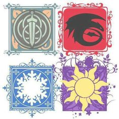 The big four ||| Disney, Pixar, Dreamworks, How to Train Your Dragon, Tangled, Frozen, Brave, banner, flag
