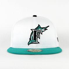 the latest 7de67 01f14 Florida Marlins White   Teal (Gray Under) 59fifty. New Era HatsMiami ...