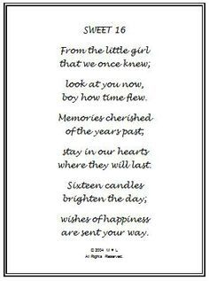 Sweet 16 Birthday Wishes