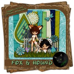 Fox & Hound - Animal themed digital taggers kit composed of 12 (800 x 800 pixel, .jpg) papers and 48 elements including two cookie posers by ©Sophisticated Scraps and Imaging. 300 DPI.  Personal Use Only.