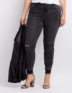 816339288eb61 Charlotte Russe Plus Size Refuge Skin Tight Legging Destroyed Jeans Skin  Tight Leggings