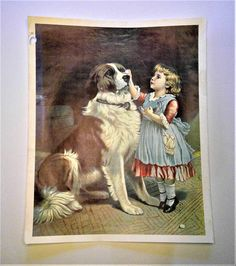 A personal favorite from my Etsy shop https://www.etsy.com/listing/488985073/vintage-little-girl-and-saint-bernard