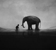 Acuarelas en blanco y negro representando a niños y animales salvajes