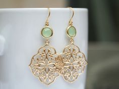 Mint and Gold Dangle Earrings