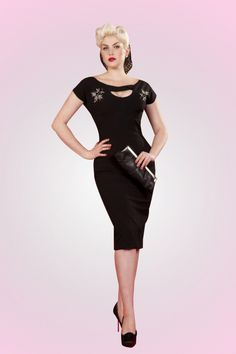 The 50s Sierra Black embroidered pencil dress from Bettie Page Clothing. Glamour, elegance, class and sexuality all in one dress. @Doris mayday