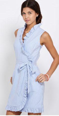 J. Peterman Women's Seersucker Dress WDR 3689 6 Blue White J ...