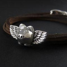 Flying Pig Bracelet Antique Silver Flying Pig by LostApostle, $38.00