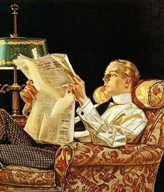 Handsome Man Reads The News Vintage Illustration. Art And Illustration, Illustrations Vintage, American Illustration, Art Drawings Beautiful, Beautiful Sketches, Jc Leyendecker, Arte Punk, Renaissance Paintings, Norman Rockwell