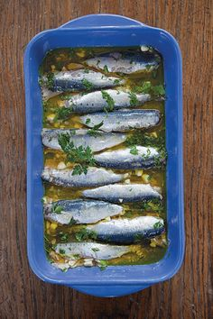 Marinated Sardines (Sardeles Ladolemono) Recipe - For this appetizer from Kea, fresh sardines are lightly pickled in a tart marinade.