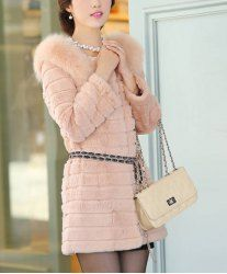 $38.22 Simple Style Solid Color Fur Long Sleeves Stripe Coat For Women