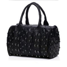 Skull Satchel Bag – Goth Mall Black Leather Handbags, Leather Purses, Leather Bag, Crane, Skull Purse, Studded Bag, Beaded Skull, Black Purses, Black Cross Body Bag