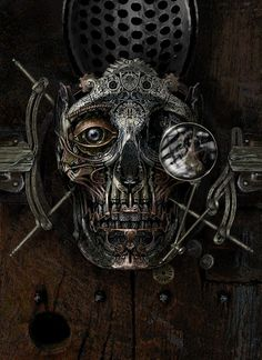 Painting of the first stage of crafting the steampunk metal skull for Frahnknshtyne's head by Kevin Mowrer