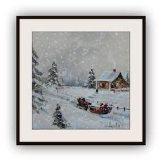 Mini 3x3 winter scene original acrylic painting by Imaginartdesign, $28.00