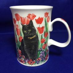 Dunoon Mug Black Cat Kitty Kittens Floral Tulips Made In England Fine Bone China
