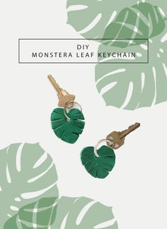 DIY Monstera Leaf Keychain so you can take mini monsteras wherever you go — no watering needed! ;)