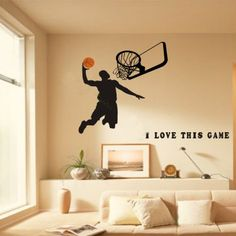 basketball wall decals,NBA  Michael Jordan decal,sports boys wall decals on Etsy, $32.00