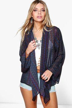 Millie Dark Aztec Print Woven Kimono | boohoo