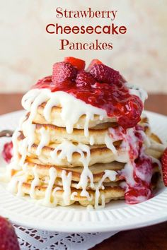 Strawberry Cheesecake Pancakes!  I want these for Mother's day!