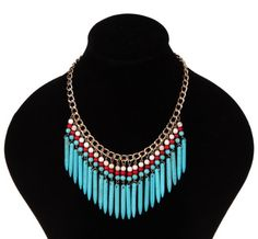 Bohemia Turquoise Spike Tassel Fringe Bib Statement Choker Deluxe Gold Chain Necklace (Turquoise)