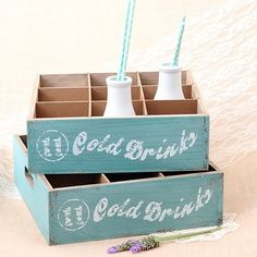 Caja de madera vintage color mint: Cold Drinks para coches