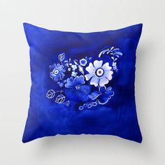 40% Off Sale - Delft Floral Accent Pillow - Watercolor Throw Pillow Cover - Vintage -  Art Painting - Decorative Pillow - Home Decor