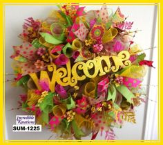 Spring and Summer Burlap Mesh Wreath with by IncredibleKreations