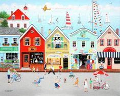 Illustrations, Illustration Art, Cottage Art, Canvas Art, Canvas Prints, Jolie Photo, Naive Art, Whimsical Art, House Painting