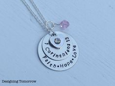 1 Corinthians 13 Faith Hope Love Metal Stamped Necklace with Heart Charm and Bead - $20.00 #Faith #ScriptureNecklace #DesigningTomorrow