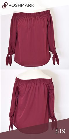 """Maroon Cold Shoulder Top Worn once! Excellent condition. Ties at the bottom of the sleeves, 25"""" L 19"""" pit to pit by A time to bloom at Nordstrom. 100% Polyester Nordstrom Tops"""