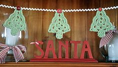 Crocheted trees Christmas garland by Anita Meade