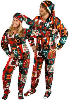 5f46d11e7e Ugly Christmas Sweater Print Fleece Drop Seat Footed Pajamas with Long  Night Cap Matching Christmas Sweaters