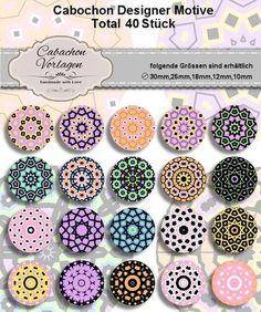 40 Cabochon Vorlagen Kreis Rund Download CA053 von Vintage Styler auf DaWanda.com