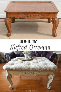 100 Room Challenge Week 2 Diy Tufted Ottoman - pinupi love to share Diy Furniture Projects, Furniture Making, Furniture Makeover, Home Furniture, Timber Furniture, Furniture Plans, Office Furniture, Woodworking Projects, Lounge Furniture