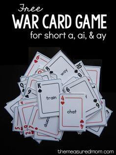 Print this free card game for practice with ai and ay words! (This post contains affiliate links.) My Five and I have been playing a lot of games to help him learn the common phonics patterns. So far we've played games for short vowels, bossy r, silent e, Spelling Games, Phonics Games, Word Games, Reading Games, Reading Activities, Teaching Reading, Reading Resources, Guided Reading, Teaching Ideas