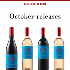 New wine every month! 🍷🍷🍷  Ask me about WineShop At Home's October #wine releases! The Joy Cellars 2014 Jubilant, 2015 #Muscat of Alexandria, #Merlot and the 2015 #Sauvignon Blanc are the perfect wines for your fall & holiday table!  http://wsah.org/35r6