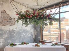 Want to make a bold, interesting statement at your head table? Consider a hanging arrangement! Your Head, Arbors, Backdrops, Wedding Inspiration, Wreaths, Heart, Floral, Table, How To Make