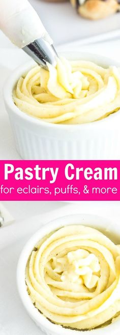 Pastry Cream (Creme Patissiere): a simple and creamy filling for tarts, cakes, and French pastries like eclairs and profiteroles! Recipe via Eclairs, Desserts Français, Fancy Desserts, Desserts For A Crowd, Food For A Crowd, Plated Desserts, Puff Pastry Recipes, Pastry Cream Filling Recipe, Gastronomia