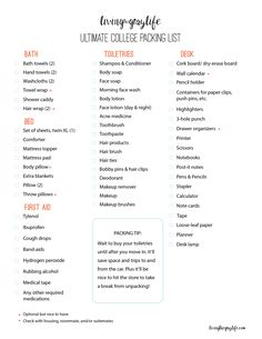 Ultimate College Packing Guide Living the Gray Life Heres . Ultimate College Packing Guide Living the Gray Life Heres All College Student College Dorm List, College Dorm Checklist, College Dorm Essentials, College Life Hacks, College Room, Dorm Life, College Guide, Espn College, College Basketball