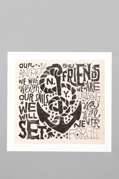 Jon Contino For Society6 Anchors Away Print.... sweet hidden message.  #UrbanOutfitters