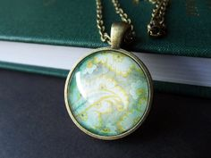 Pendant Necklace  Pale Green and Yellow Floral by PixieBoneJewelry, $15.00