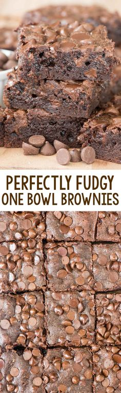 These are the BEST and PERFECTLY FUDGY One Bowl Brownies you'll ever make. I could NOT stop eating them!