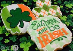 Patrick's Day set by Sweet 17 Cookies. Green & orange argyle, shamrock against Irish flag Patricks day cookies Irish Cookies, St Patrick's Day Cookies, Iced Cookies, Cut Out Cookies, Holiday Cookies, Sugar Cookie Icing, Royal Icing Cookies, Sugar Cookies, St Patricks Day Food