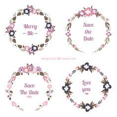 Coleção de quatro frames florais redondas do casamento Vetor grátis